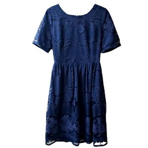 Polagram Navy Blue Lace Dress
